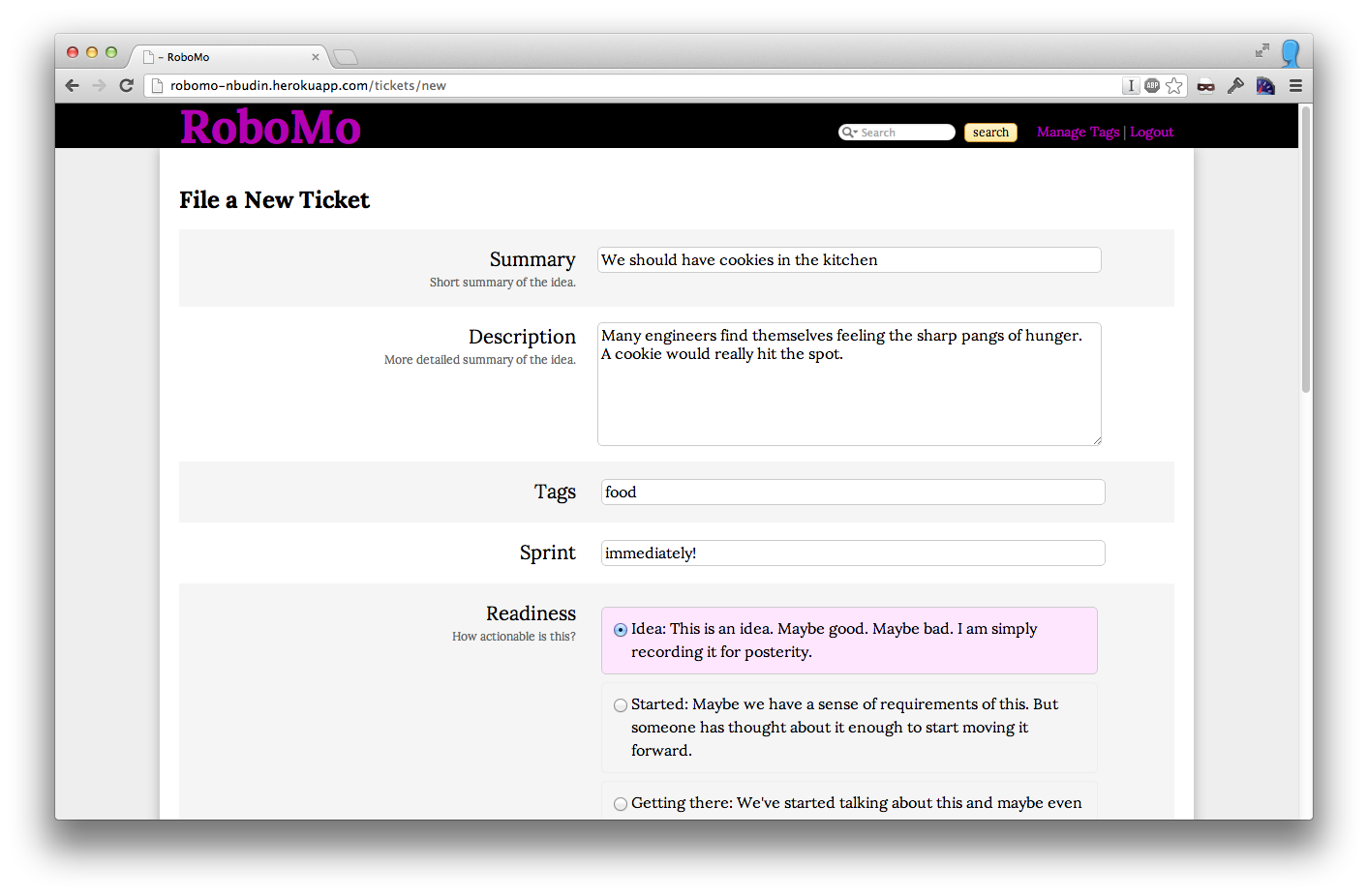 Robomo ticket entry